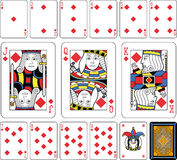 Diamonds Suite large figures. Playing cards, diamonds suite, joker and back. Faces double sized. Green background Royalty Free Stock Photography