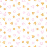 Diamonds on white background. Cute seamless pattern. Gold texture. Pink color. Handmade. Vector illustration Royalty Free Stock Photo