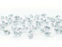 Diamonds on white background Stock Photos