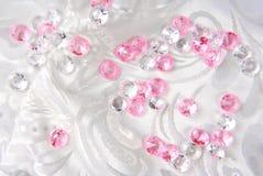 Diamonds on white. Floral fabric Stock Image
