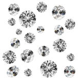 Diamonds on white. Group of faceted diamonds on white background stock image
