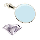 Diamons and magnifying glass Royalty Free Stock Photo
