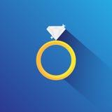 Diamord Ring Flat Vetora Imagem de Stock Royalty Free