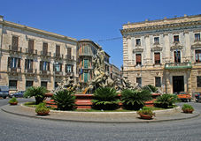 Diana fountain in Ortigia, Syracuse stock photos