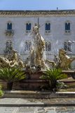 Diana Fountain on Piazza Archimede in Syracuse Stock Photos
