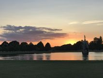 Diana fountain at sunset, Bushy park royalty free stock image