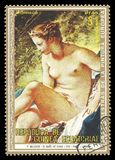 Diana leaving her Bath by Boucher. Guinea Equatorial - stamp 1973: Color edition on Art, shows Painting Diana leaving her Bath by Boucher Royalty Free Illustration