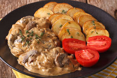 Diana steak with mushrooms and cream sauce close-up. horizontal Royalty Free Stock Images