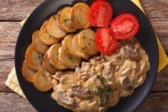 Diana steak with mushrooms and cream sauce close-up. Horizontal Stock Photography