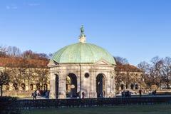 Diana tempel i den Munich Tyskland i det Hofgarden området Arkivfoton