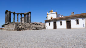 Diana Temple ruins in Evora - Portugal. The roman temple in Evora, Portugal, a UNESCO World Heritage Site Royalty Free Stock Photos