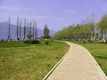Dianchi lake Haigeng park sidewalk Royalty Free Stock Photo