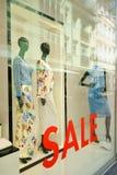 Diane von Fürstenberg womenswear summer sale. Womenswear of the luxury brand Diane von Fürstenberg on sale in a showcase of a department store. Town of Baden Royalty Free Stock Image