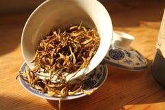 Dianhong (Yunnan) tea. Dianhong Pure Gold (Yunnan, 金芽滇紅茶) red (also called black) tea, grown in Yunnan Province of China Stock Images