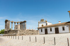 Dianna Temple in Evora. Ancient roman temple in the old city of Royalty Free Stock Photography