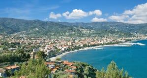 Diano Marina,italian Riviera,Liguria,Italy. View to Diano Marina at italian Riviera near San Remo,Liguria,mediterranean Sea,Italy Royalty Free Stock Images
