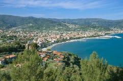 Diano-Marina,italian Riviera. View to popular Diano-Marina,a seaside Resort at italian Riviera,Liguria,Italy Royalty Free Stock Images