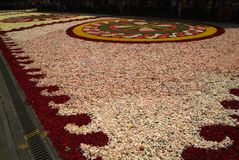Diano Marina, Italy - June 10, 2007: Infiorata Lig. During the eve of the religious feast of Corpus Christi, including the night, the streets are depposti the Royalty Free Stock Photography