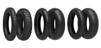 Dianteiro e traseiro, competência, estrada e fora de estrada, pneus da motocicleta rendição 3d Foto de Stock Royalty Free
