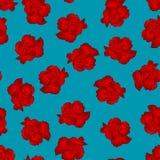 Dianthus caryophyllus - Red Carnation Flower on Blue Background. Vector Illustration.  vector illustration
