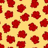 Dianthus caryophyllus - Red Carnation Flower on Yellow Background. Vector Illustration.  vector illustration