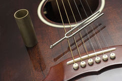 Diapason and guitar. Diapason placed on an acoustic guitar Stock Photography