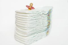 Diaper. Goods necessary for everybody baby and their mother royalty free stock photos