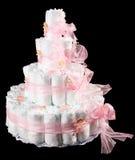 Diaper cake. In black basckground Stock Photos