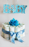 Diaper cake for a baby shower. In blue tones for boy stock photography