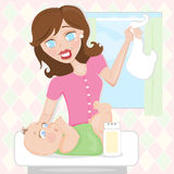 Diaper Change. Illustration of a mod mamma changing her baby infants diaper royalty free illustration