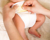 Diaper change stock image