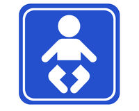 Diaper-changing room. A typical blue sign showing the next diaper-changing room royalty free illustration