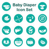 Diaper characteristics icons. Nappy common features set. Diaper characteristics icons. Natural extracts, slim, antibacterial, wetness indicator, stretch sides Stock Images
