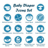 Diaper characteristics icons. Vector set. Diaper characteristics icons. Natural extracts, slim, antibacterial, wetness indicator, stretch sides, restick tapes Stock Photography