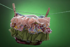 Diaper on the clothesline Stock Photo