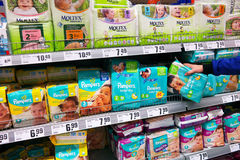 Diaper packings in Supermarket Royalty Free Stock Images