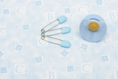Diaper Pins and Pacifier Royalty Free Stock Photo