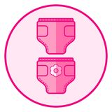 diaper Roze babypictogram op een witte achtergrond vector illustratie