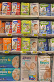 Diapers in baby shop Royalty Free Stock Photos