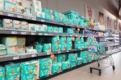 Free Diapers In A Hypermarket Stock Images - 157972034