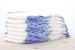 Diapers On A Table Royalty Free Stock Photos