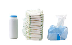 Diapers, wipes, powder Royalty Free Stock Images