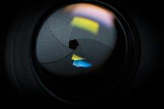 Diaphragm of a camera lens aperture. stock photo