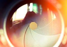 The diaphragm of a camera lens aperture.