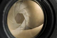 Diaphragm of a camera lens. Closeup of the diaphragm of a camera lens Royalty Free Stock Photos