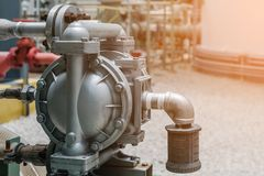 Chemical. Diaphragm pump in petrochemical plant, Diaphragm pump in oil refinery industrial, Machine for loading chemical royalty free stock image