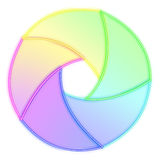 Diaphragm or shutter with transparent colors Royalty Free Stock Photo