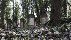 Diapositiva de la cámara en cementerio judío con el matzevah almacen de metraje de vídeo