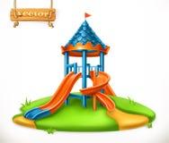 Diapositiva del patio Área de juego para los niños, icono del vector Fotos de archivo