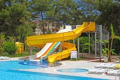 Diapositivas de Aquapark, Turquía Foto de archivo libre de regalías